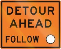 New Zealand road sign - Detour ahead, follow circle symbol Stock Photos