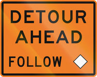 New Zealand road sign - Detour ahead, follow diamond symbol.  Royalty Free Stock Photo
