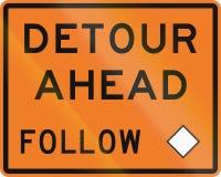 New Zealand road sign - Detour ahead, follow diamond symbol Royalty Free Stock Photo