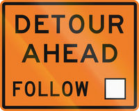New Zealand road sign - Detour ahead, follow square symbol.  Stock Photography