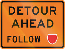 New Zealand road sign - Detour ahead, follow state highway shield.  Royalty Free Stock Photography