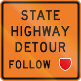 New Zealand road sign - Detour ahead, follow state highway shield.  Royalty Free Stock Photo