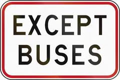 New Zealand road sign - Except buses Royalty Free Stock Photo