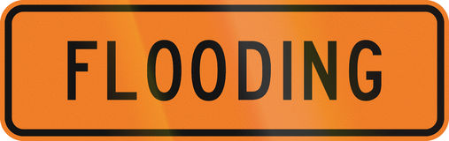 New Zealand road sign - Flooding ahead.  Stock Photos