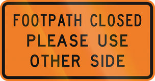 New Zealand road sign - Footpath closed Royalty Free Stock Photos