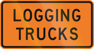 New Zealand road sign - Logging trucks Stock Photo