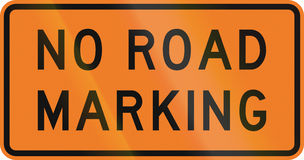 New Zealand road sign - No road markings Royalty Free Stock Photography
