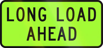 New Zealand road sign - Over-dimension vehicle transporting a extra long load ahead Royalty Free Stock Photography