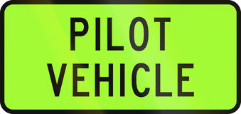 New Zealand road sign - Pilot vehicle for an over-dimension convoy Stock Images