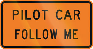 New Zealand road sign - Pilot vehicles follow me Royalty Free Stock Images