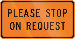 New Zealand road sign - Please stop on request for flagman Royalty Free Stock Photography