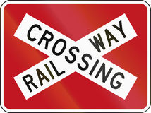New Zealand road sign PW-14 - Railway crossbuck (with target board) Stock Images