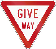 New Zealand road sign R2-2 - Give Way Royalty Free Stock Photo