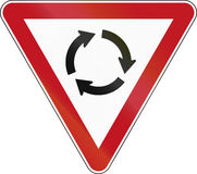 New Zealand Road Sign RG-6R - Give Way At Roundabout Stock Images