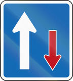 New Zealand road sign RG-20 - Priority (over oncoming vehicles) Royalty Free Stock Image