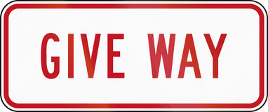 New Zealand road sign RG-6R - Supplementary Give Way plate Stock Images