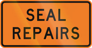 New Zealand road sign - Road seal being repaired Royalty Free Stock Images