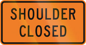 New Zealand road sign - Road shoulder closed Stock Image