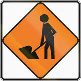 New Zealand road sign - Road Workers ahead, use extra caution Royalty Free Stock Photos