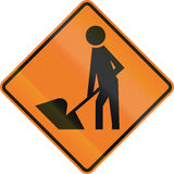 New Zealand road sign - Road Workers ahead, use extra caution Royalty Free Stock Images