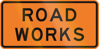 New Zealand road sign - Road works Stock Image