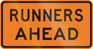 New Zealand road sign - Runners ahead Royalty Free Stock Image