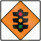 New Zealand road sign - Temporary traffic signals ahead Royalty Free Stock Images