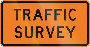 New Zealand road sign - Traffic survey ahead Royalty Free Stock Images