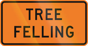 New Zealand road sign - Tree felling Royalty Free Stock Photos