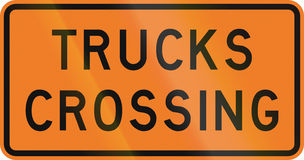 New Zealand road sign - Trucks crossing Royalty Free Stock Photos