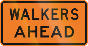 New Zealand road sign - Walkers ahead.  Royalty Free Stock Image