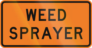 New Zealand road sign - Weed sprayer Stock Photo