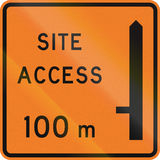 New Zealand road sign - Works site access 100 metres ahead on left Royalty Free Stock Photo