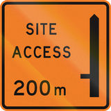 New Zealand road sign - Works site access 200 metres ahead on left.  Stock Image