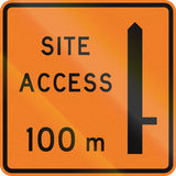 New Zealand road sign - Works site access 100 metres ahead on right Stock Photo