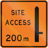New Zealand road sign - Works site access 200 metres ahead on right Stock Image