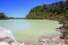 New Zealand, Rotorua, Wai-O-Tapu Thermal Wonderland, Lake Ngakoro. With Mt Tarawera in background royalty free stock image