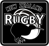New zealand rugby kiwi bird. Illustration of a silhouette of a kiwi bird with ball and words  new zealand rugby  set inside a square format in all black Royalty Free Stock Image