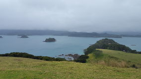 New Zealand Scenic Town. New Zealand Scenic site, hills and water Stock Photos