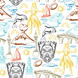 New Zealand seamless pattern. Oceanian traditional symbols and attractions vector illustration