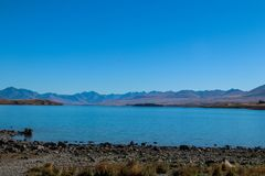 New Zealand South Island mountains and lakes. In Queenstown and Fiordland in February 2019 royalty free stock image