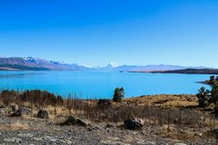 New Zealand South Island mountains and lakes. In Queenstown and Fiordland in February 2019 stock image