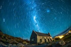 Church under the beautiful night sky at Tekapo, New Zealand royalty free stock image