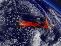 New Zealand from space highlighted in red Royalty Free Stock Photography
