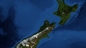 New Zealand from space. New Zealand is an island country in the southwestern Pacific Ocean. The country geographically comprises two main landmasses. Video royalty free illustration