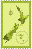 New Zealand on stamp Stock Photos