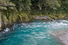 A New Zealand stream runs through a gorge. A photo of a beautiful, fast flowing, aqua stream on the South Island of New Zealand Royalty Free Stock Image