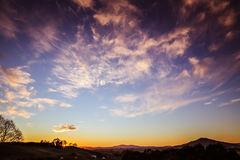 New Zealand sunrise. Bright sunrise in sky over New Zealand landscape Royalty Free Stock Image