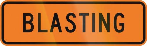New Zealand temporary road sign - Blasting.  Stock Photo