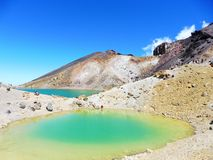New zealand tongariro crossing national park emerald lakes volcano. Blue green lakes geochemical with volcanic rocks and a sunny day to hike. 19 km hiking in royalty free stock photo
